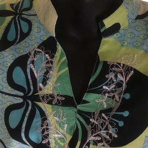 Erin London 3/4 Sleeve Women's Blouse. Multi Color